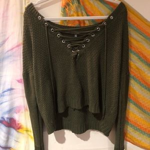 Olive green off the shoulder sweater💚